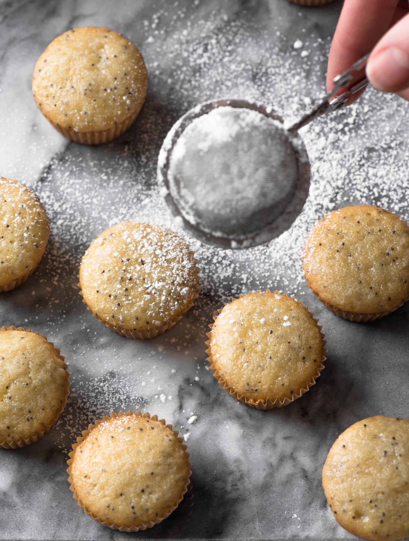 dusting icing sugar on mini lemon poppyseed cupcakes