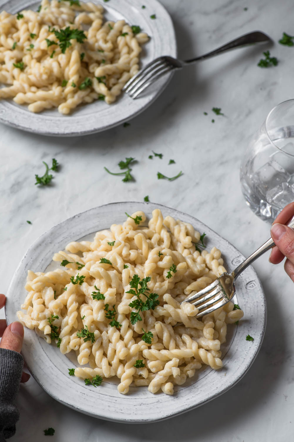 Creamy Gemelli Pasta with Fresh Parsley, allergy free, dairy free, egg free, soy free, gluten free, peanut free, tree nuts free, healthy, simple dinner