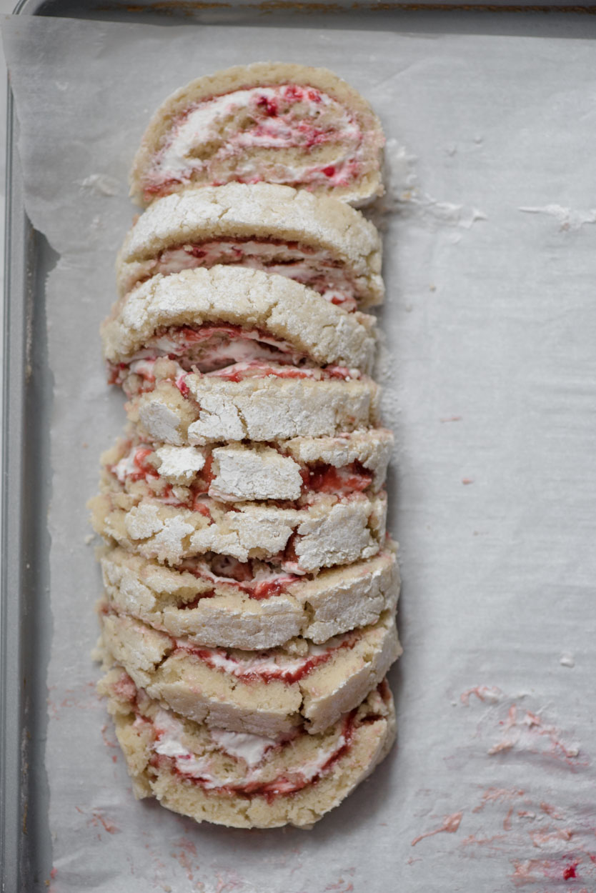 top down view of a ruined raspberry lemon roll