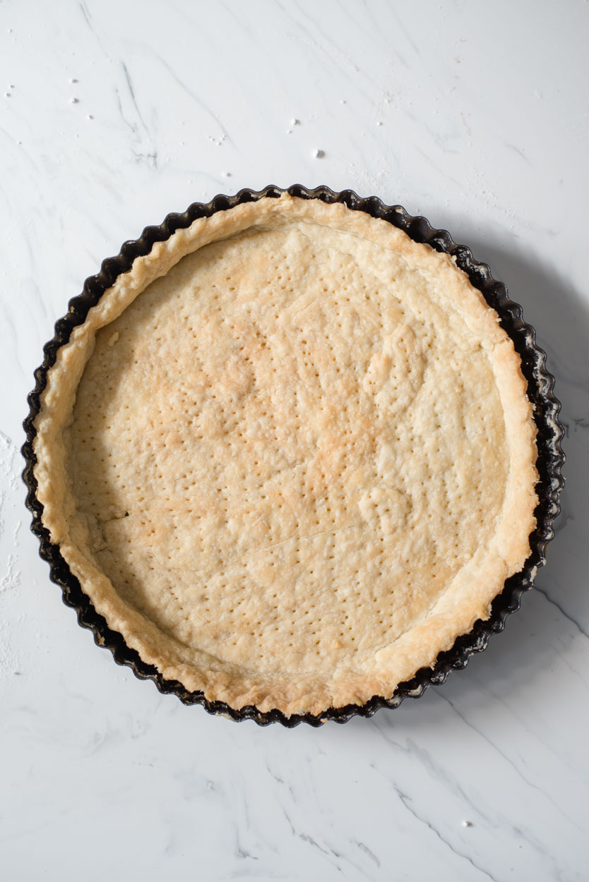 top down view of baked pie crust